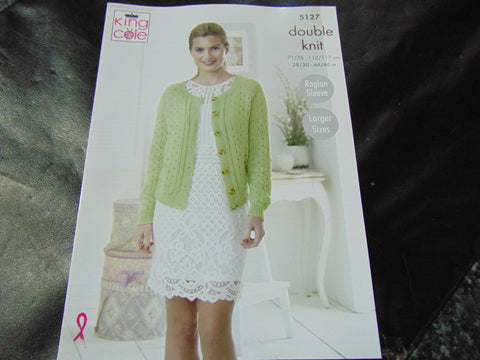 King Cole Double Knit Pattern 5127 Sweater and Cardigan