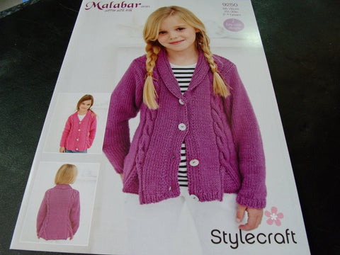 Malabar Aran Girls Cardigan Knitting Pattern 9250