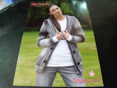 Harlequin Chunky Cardigan Knitting Pattern 8871