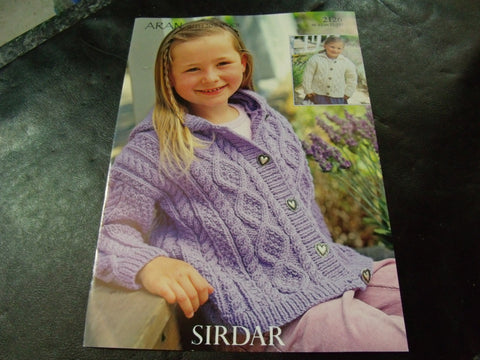 Sirdar Aran Knitting Pattern 2126 Childrens Jackets