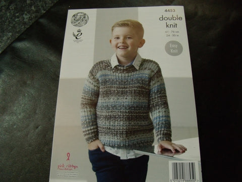 King Cole Double Knit Pattern for Sweaters, Hat and Scarf 4453