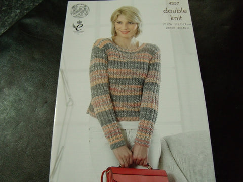 King Cole Double Knit Pattern for Cardigan and Sweater 4257