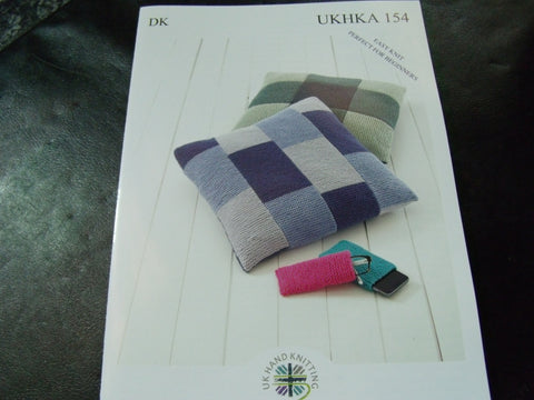 UKHKA Double Knitting Pattern 154 Easy Knit Cushion Covers
