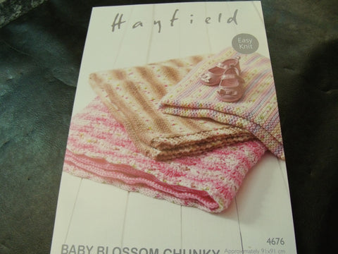 Hayfield Baby Blossom Chunky Blanket Easy Knit Pattern 4676