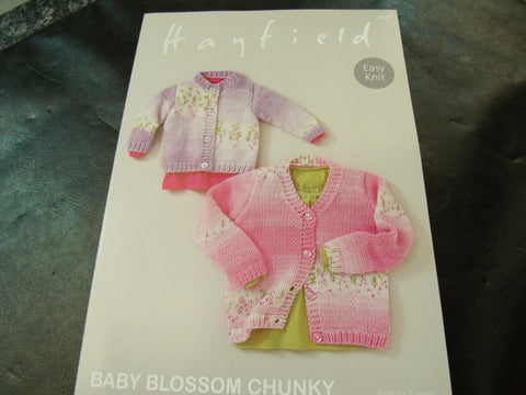 Hayfield Baby Blossom Chunky Easy Knit Cardigan Pattern 4677