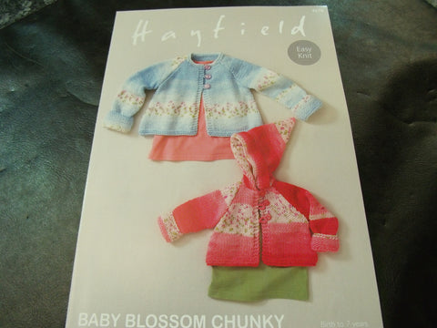Hayfield Baby Blossom Chunky Easy Knit Coats Pattern 4678