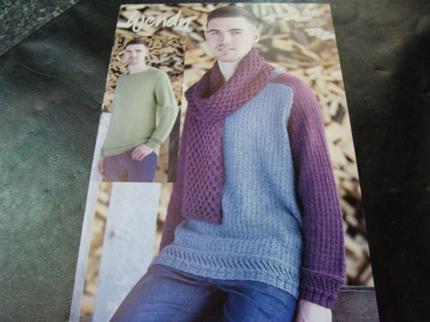Wendy Double Knit Pattern 5986 Saddle Shoulder Sweater and Scarf