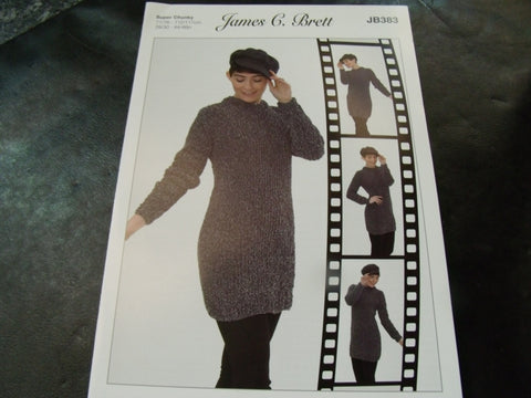 James C Brett Sweater Dress Super Chunky Pattern JB383