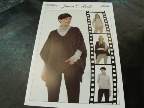 James C Brett Sweater and Tabbard Double Knitting and Super Chunky Pattern JB386