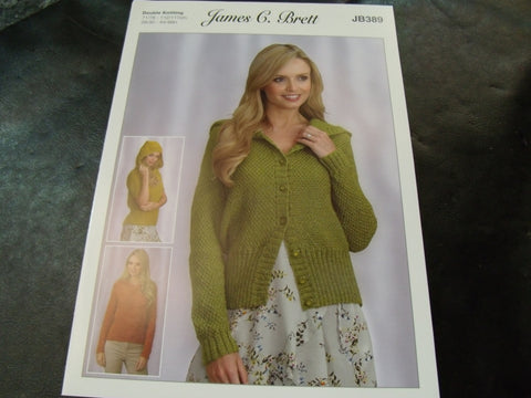 James C Brett Sweaters and Cardigan Double Knitting Pattern JB389