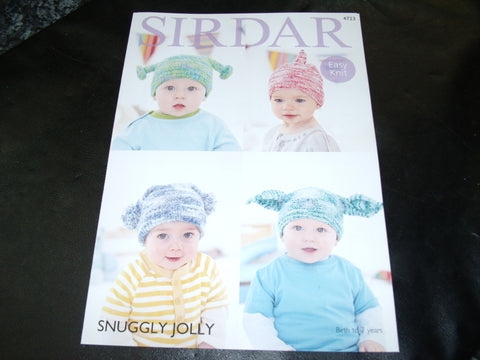 Sirdar Snuggly Jolly Baby's and Child's Hats Easy Knit Pattern 4723