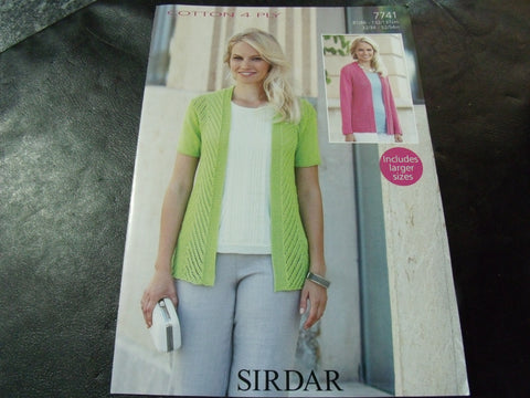 Sirdar Cotton 4 Ply Jacket Knitting Pattern 7741