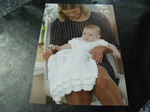 King Cole 4 Ply Knitting Pattern 3537 14 - 18 ins. Christening Set