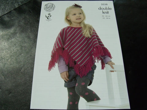 King Cole Double Knitting Pattern 3338 Ponchos 1.5 Years - 7 Years