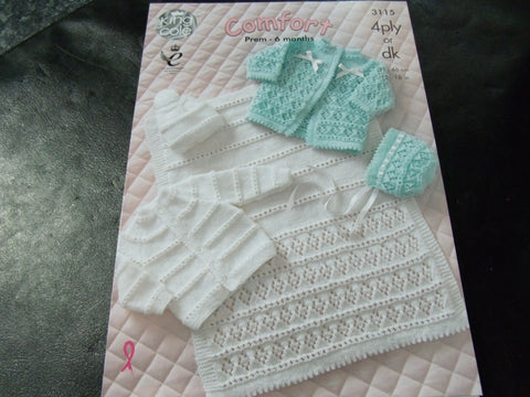 King Cole Double Knit or 4 Ply Knitting Pattern 3115 Prem - 6 Months