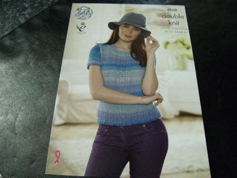 King Cole Double Knit Pattern 4568 Slipover and Top