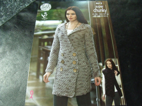 King Cole Super Chunky knitting Pattern 4612 Coatigan, Cardigan and Gilet
