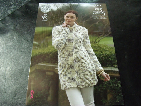 King Cole Super Chunky knitting Pattern 4613 Coatigan and Cardigan