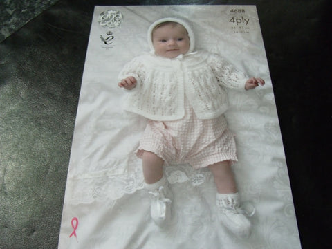 King Cole Baby 4 Ply Knitting Pattern 4688 Matinee Coat Set