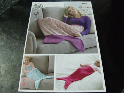 King Cole Double Knit Pattern 4692 Mermaid Blankets