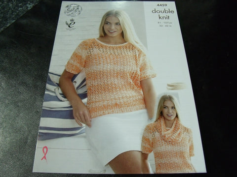 King Cole Double Knit Pattern 4459 Ladies Sweaters and Snood