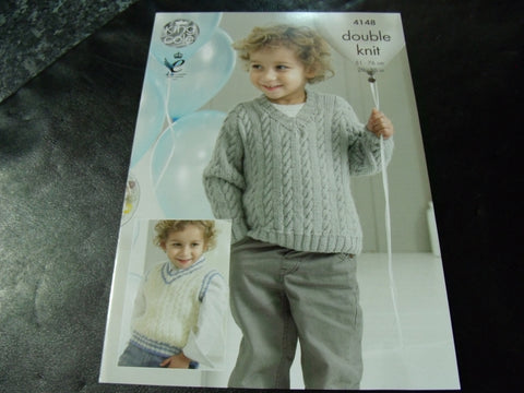 King Cole Double Knitting Pattern 4148 Slipover and Sweaters
