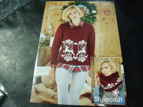 Stylecraft Ladies Christmas Jumper and Snood Pattern 9203