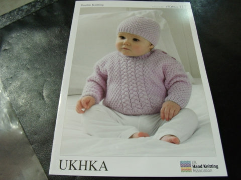 UKHKA Double Knitting Pattern 117 Sweaters, hat and Scarf  12 - 20 in
