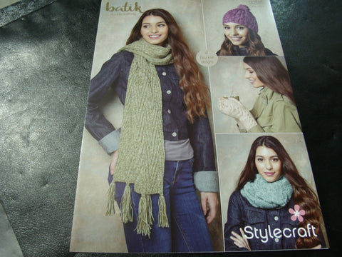 Stylecraft Batik Double Knitting Pattern 9295   (4 Easy Knit Designs)