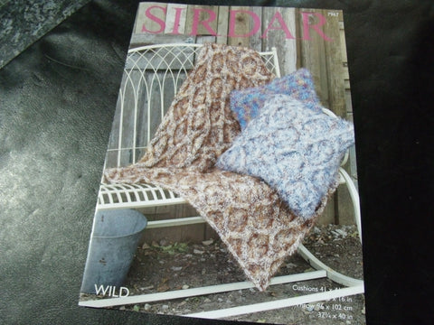 Sirdar Wild Knitting Pattern 7967 Cushions and Throw