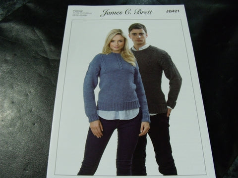 James C Brett Twisted Knitting Pattern JB421
