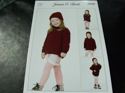 James C Brett Twisted Knitting Pattern JB420 Sweater and Hat