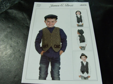 James C Brett Twisted Knitting Pattern JB419 Waistcoat