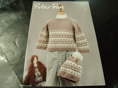 Peter Pan Double Knitting Sweater and Hat Pattern P1275