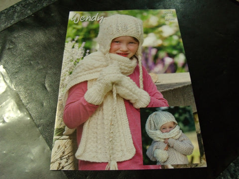 Wendy Aran Pattern 6021 Hatscarf, Earflap Hat, Scarf and Mitts