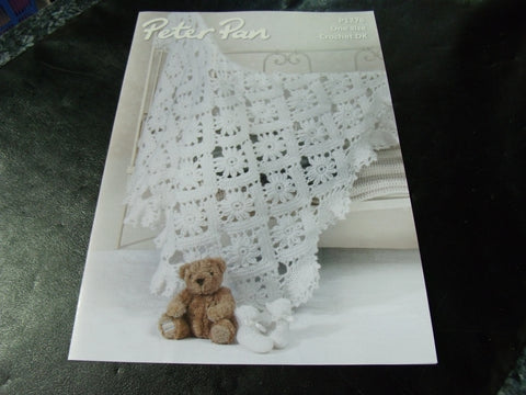 Peter Pan One Size Baby Crochet Shawl and Bootees Pattern P1276