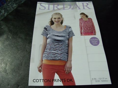 Sirdar Cotton Prints Double Knitting Sweater Pattern 7943