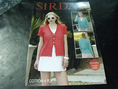 Sirdar Cotton 4 Ply Cardigan Pattern 7911
