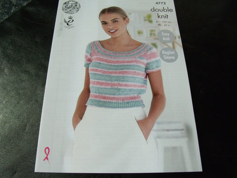 King Cole Double Knit Pattern 4772 Ladies Tops