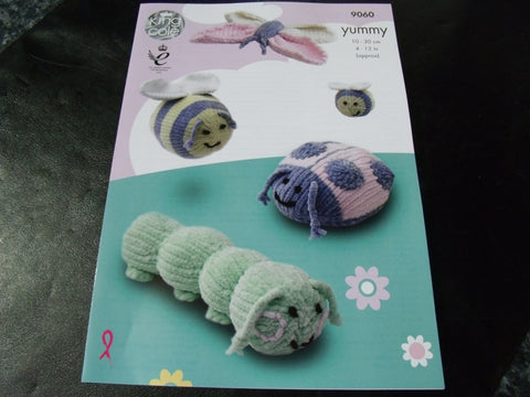 King Cole Yummy Bugs Knitting Pattern 9060