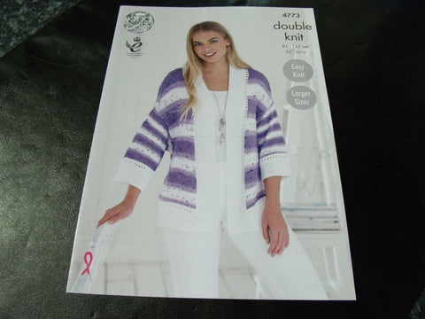 King Cole Double Knit Pattern 4773 Ladies Cardigan Easy Knit