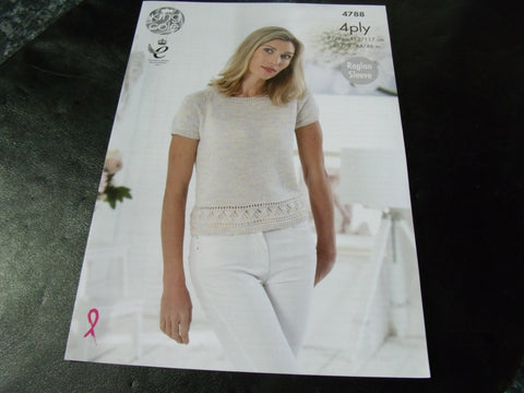 9583bc334 King Cole 4 Ply Knitting Pattern 4788 Tops with Raglan Sleeves