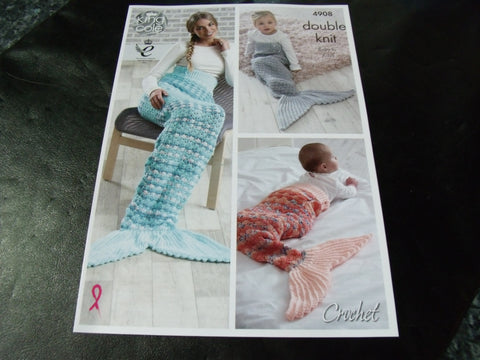 King Cole Double Knit Crochet Pattern 4908 Baby to Adult
