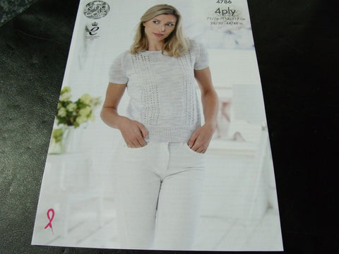 8e3d4fa1657c King Cole 4 Ply Knitting Pattern 4786 Tops – S and P Knitting