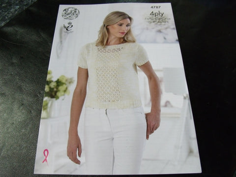 King Cole 4 Ply Knitting Pattern 4787 Top and Sweater