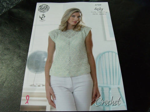 King Cole 4 Ply Ladies Crochet Tops pattern 4789