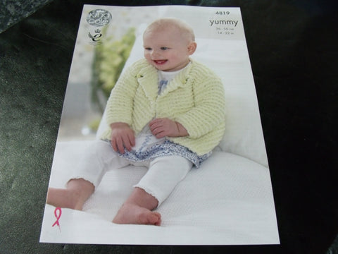 King Cole Yummy Knitting Pattern 4819 Cardigans and Blanket