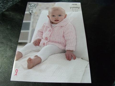 King Cole Yummy Knitting Pattern 4820 Jacket and Blanket
