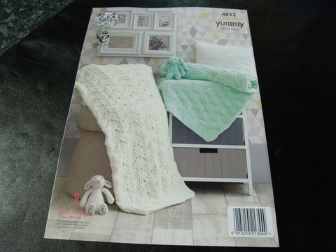 King Cole Yummy Knitting Pattern 4822 One Size Blankets