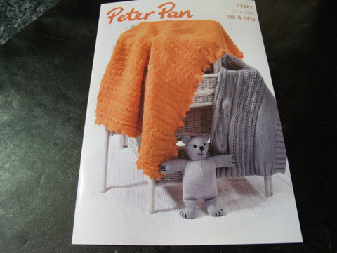 Peter Pan Tortoise Blanket, Teddy Bear and Shawl Pattern P1287